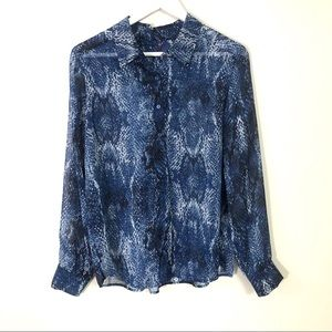 NYDJ blue sheer snake print button down blouse